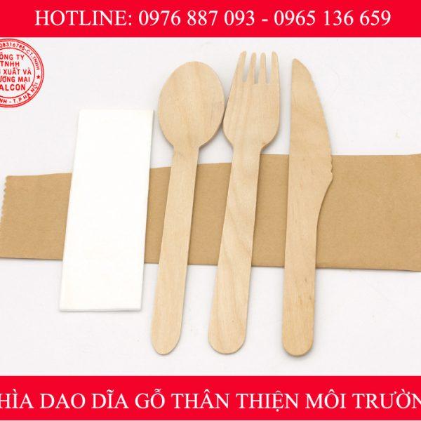 Bộ sản phẩm thìa dao dĩa và khăn giấy