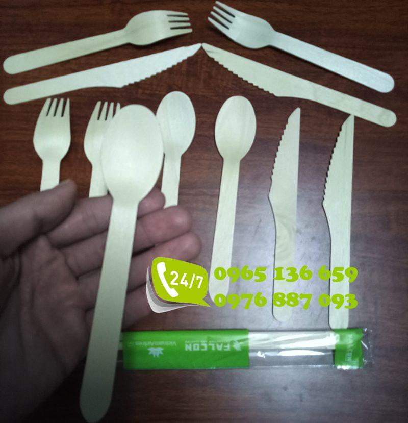 thìa dao dĩa gỗ dùng 1 lần cho nhà hàng