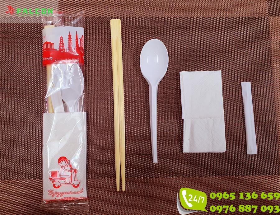 Bộ suất ăn thìa đũa giấy ăn và tăm dùng 1 lần